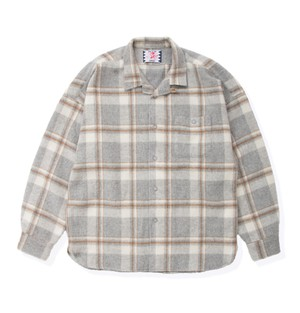 【SON OF THE CHEESE】Long flannel shirts(GRAY)