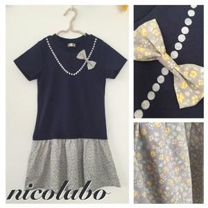 パールリボンTシャツワンピ ネイビー size110 【ハンドメイド子ども服 nicolabo】
