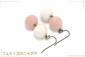 バイカラーピアス 白×ベビーピンク