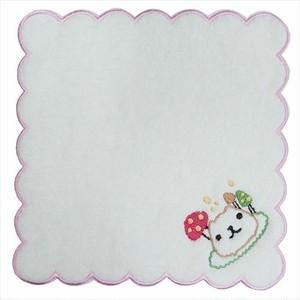 カピバラさん ふわふわ無撚糸 刺繍タオル キノコ ピンク