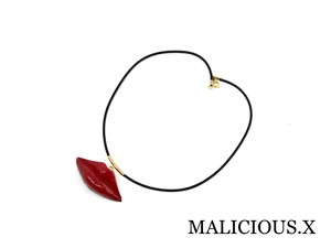 lip necklace / red
