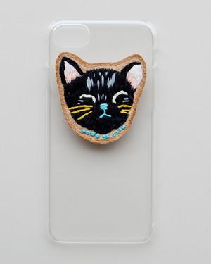 刺繍のクリアケース・くろねこ2(iphone)