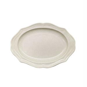 美濃焼 一洋陶園 カードル cadre 楕円 小皿 プレート 約17×13cm 白 アイボリー 513-0041