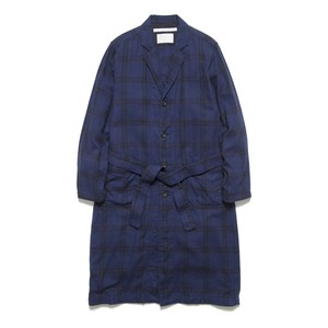 HERRINGBONE CHECK LONG COAT - NAVY