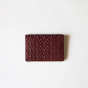 WM x PORTER MARQUETRY PATTERN EMBOSSED LEATHER CARD CASE- BURGUNDY
