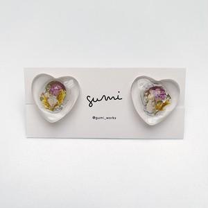【earring】glass heart / E