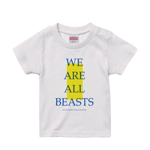 """We Are All Beasts"" KIDS T-Shirt / White × Blue × Neon Yellow"