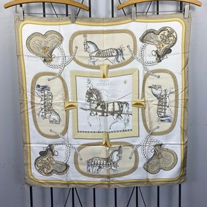 .HERMES CARRES90 GRAND APPARAT LARGE SIZE SILK 100% SCARF MADE IN FRANCE/エルメスカレ90 盛装の馬 シルク100%大判スカーフ 2000000045603