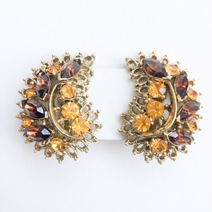 brown & amber rhinestone earring[e-246]