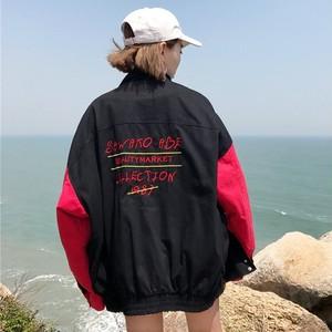 【アウター】原宿風ドルマンスリーブ切り替えスタンドネックジッパージャケット27039546