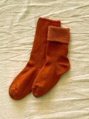 茜染めシルク&ウール靴下