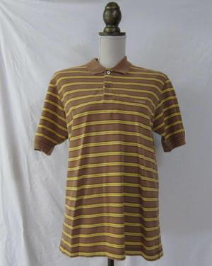 PAPAS パパス イエロー×ブラウン ボーダー ポロシャツ M o251838564