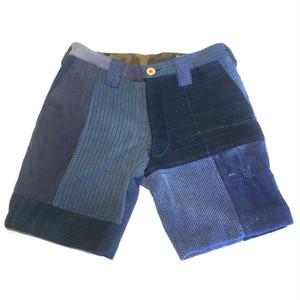 """サンプルSALE KIRIKOMI """"切込"""" 藍染 剣道着 リメイク パッチワーク ショーツ (Blue) Japanese Indigo Vintage Kendo JKT Remake Patchwork Shorts"""