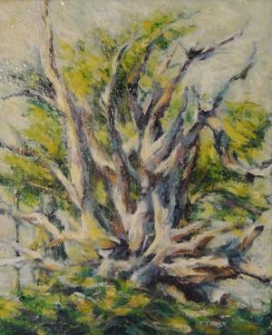 倒木 油絵 手描き