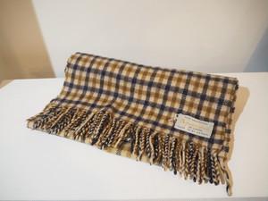 Aquascutum Lambs Wool Check Muffler / Made in Great Britain [C-446]