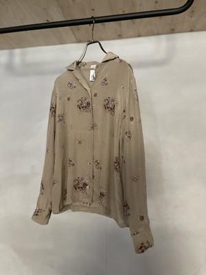 vintage silk opencollar floral blouse