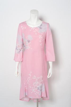 ワンピース 和柄 花柄 上品 エレガント 七分袖 テールスカート お呼ばれ ピンク