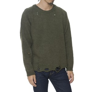 DAMAGED CREW NECK KNIT - KHAKI