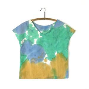 手染めの半袖プルオーバー コットンリネン / Palette-green