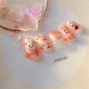 [Pukeネイル[No.314]チェック・ウサギ・さくらんぼ・可愛いジェイルネイルチップ