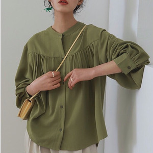 2color : Bishop sleeve Gather Blouse 送料無料