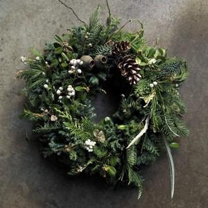 Christmas wreath ~green&white ver.