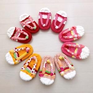 1歳のお祝い用*ベビー布ぞうり(いちご オレンジ)