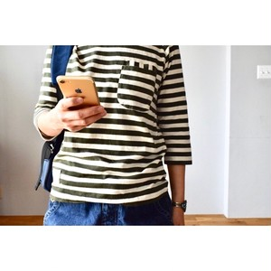 Simva114-0020B W-Pocket Border 6分袖 Crew Neck
