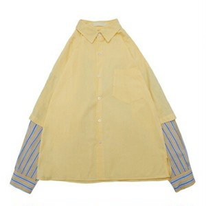 送料無料メンズ/黒/ベージュ/白/レイヤード風/ストライプ切替/長袖シャツ