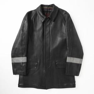 French vintage fireman leather jacket