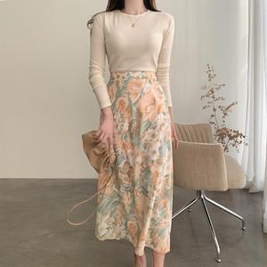 韓国ファッション ハイウェスト 膝丈スカート SHQ413101