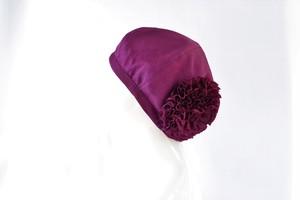 【再販】着物地お花ベレー帽:赤紫色・草花模様地紋 着物リメイク/国内送料無料/1901b01
