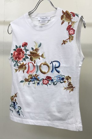 SS2002 CHRISTIAN DIOR EMBROIDERED SLEEVELESS
