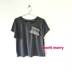 チュール×ジップドルマンTシャツ チャコール