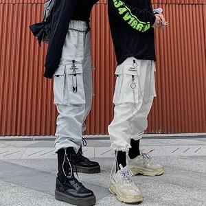 【ボトムス】シンプル無地金属飾りレギュラーウエストパンツ