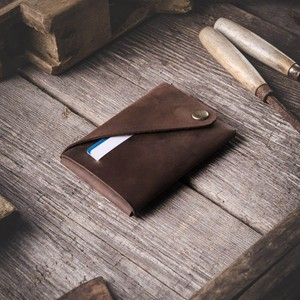 110 Minimalistic Leather wallet / card holder Wood Brown
