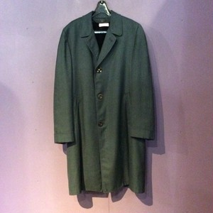 80's green houndstooth pattern coat [B1443]
