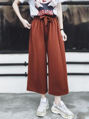 【bottoms】Casual elastic waist wide leg pants