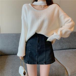 【トップス】韓国版ファッションカジュアル合わせやすいホルターネック無地ニットセーター