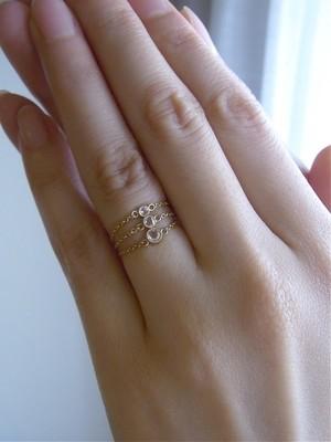 Diamond Gauge / K18×ローズカットダイヤ(Mサイズ)のチェーンリング/限定2点