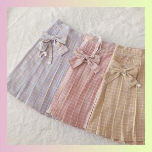 【お取り寄せ】チェックスカート&リボン 3色