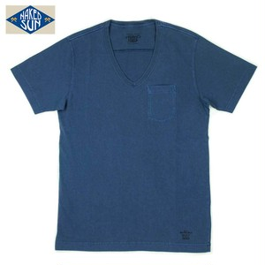 NS003006 USA COTTON V NECK Tee / NAVY