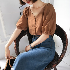 ♡puff sleeve casual blouse 2532
