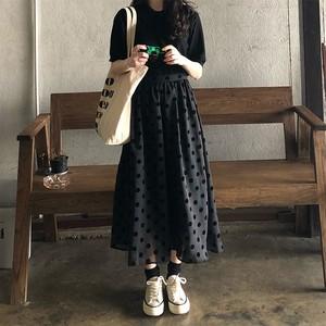 【ボトムス】暗黒系合わせやすい着瘦せドット柄ロングスカート