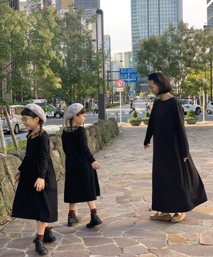 【RINANN】オトナ長袖ワンピース ブラック