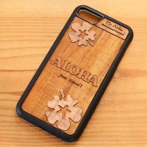 【 ハイビスカス 】ハワイ産 スマホケース 【 Ho Aloha 】 ハワイアン コアウッド アイフォンケース