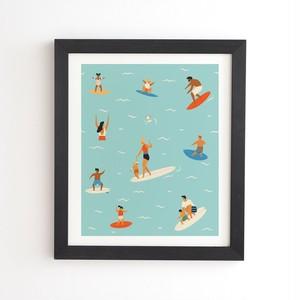 フレーム入りアートプリント SURFING KIDS BY TASIANIA【受注生産品: 8月下旬入荷分 オーダー受付中】