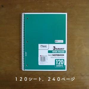 *アメリカ直輸入*【mead】ミード・リングノート 10.5 x 7.5 inch 120シート 3 SUBJECT, SPIRAL NOTE BOOK