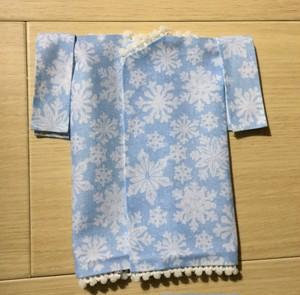 水色の六花の着物 L