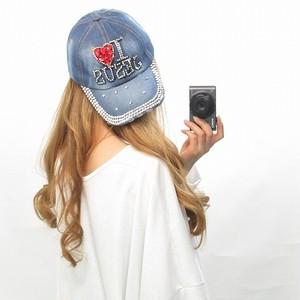 I LOVE/デニムCAP/ストーン×ビジュー/キャップ/帽子